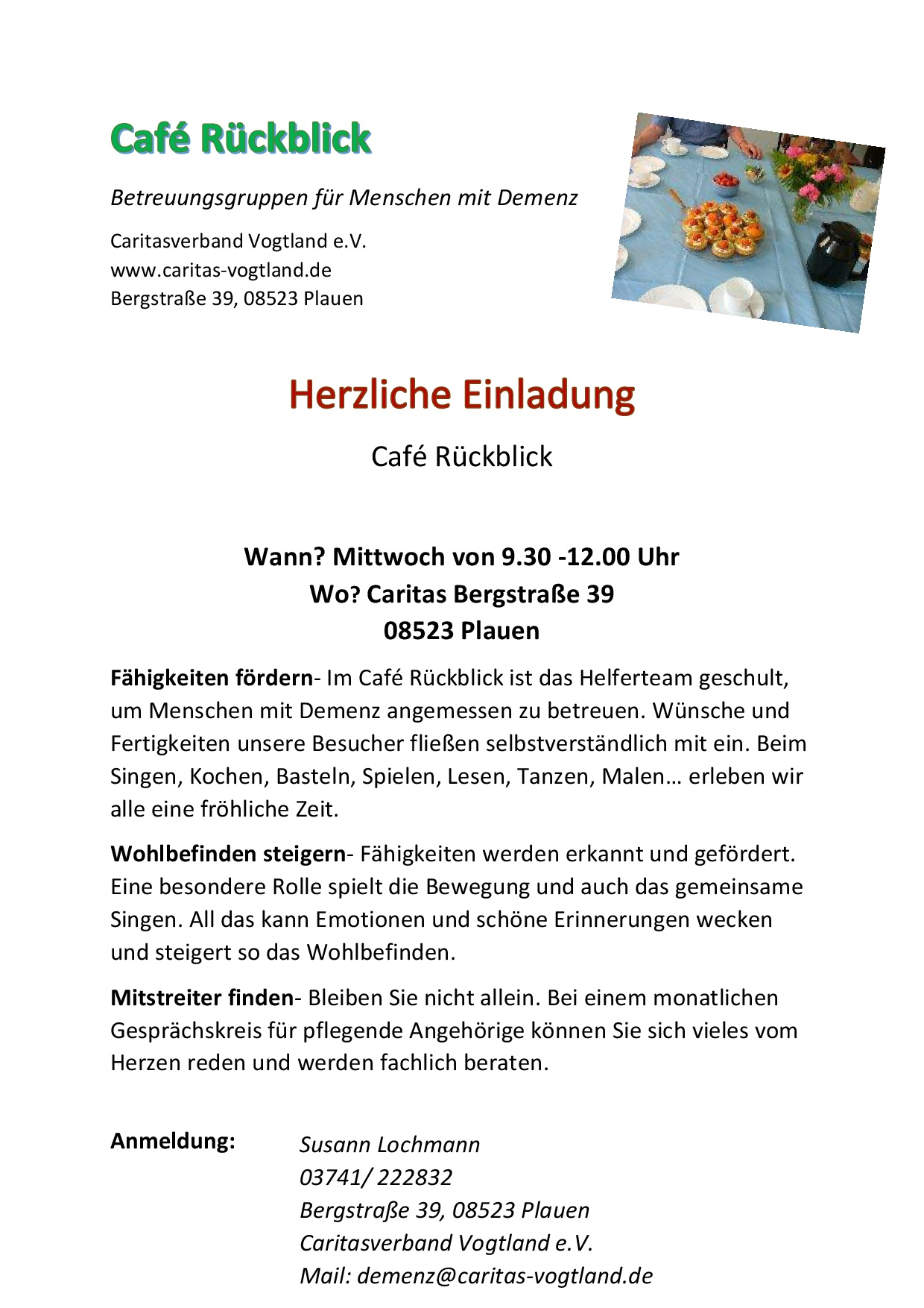 Café Rückblick Plakat